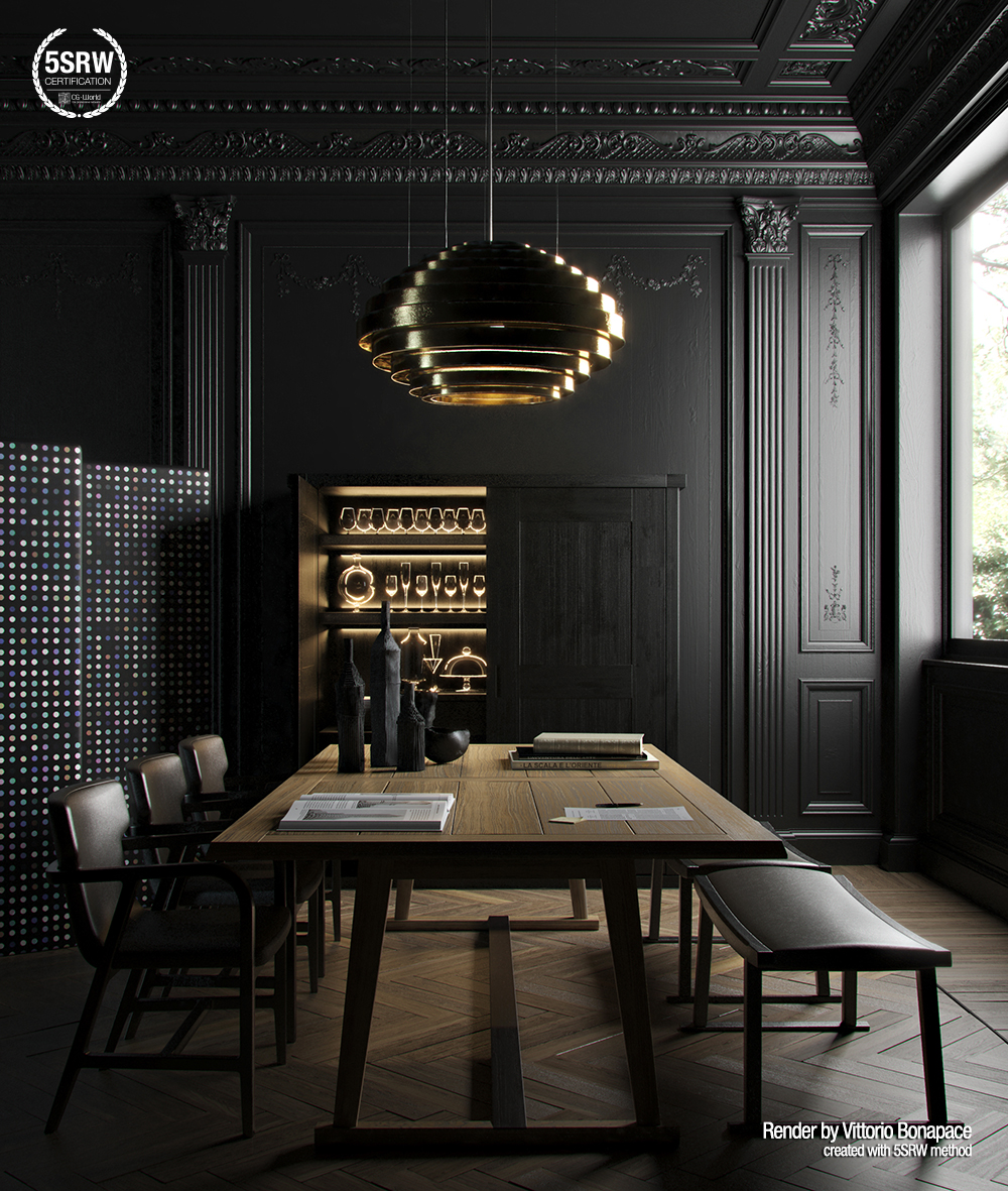 Render it black vittorio bonapace with 5srw for Black in interior design
